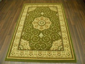 Woven Backed Green Traditional Carved Rug 120cm x 170cm Approx 6x4 Top Quality